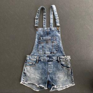 Zara Overall Denim Shorts